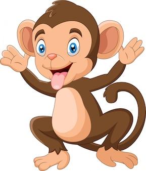 Dessin animé singe heureux, agitant la main