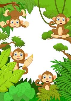 Dessin animé singe heureux dans la forêt