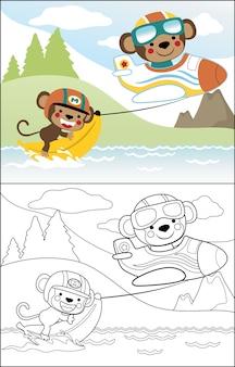 Dessin animé de singes mignons jouant bateau de banane