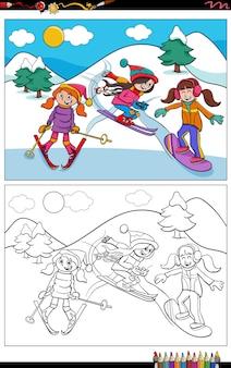Dessin animé ski filles personnages livre de coloriage page