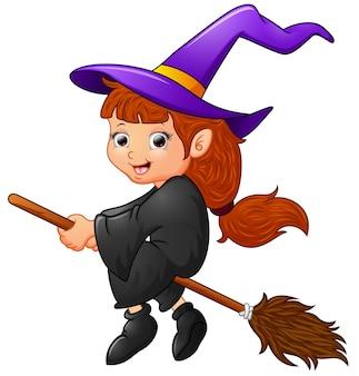 Dessin animé sorcière battant