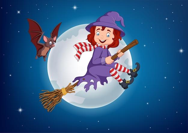 Dessin animé sorcière volant utiliser un balai