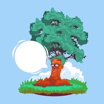 Dessin animé souriant arbre portant des lunettes avec bulle de discussion