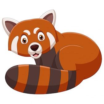Dessin animé souriant panda rouge