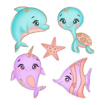 Dessin animé, sous-marin, océan, mer, animaux, isolé, blanc
