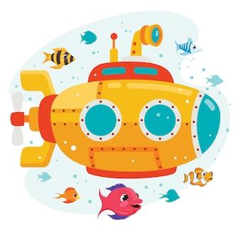 Dessin animé sous-marin sous la mer