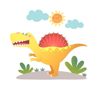 Dessin animé, spinosaurus, dinosaure, blanc