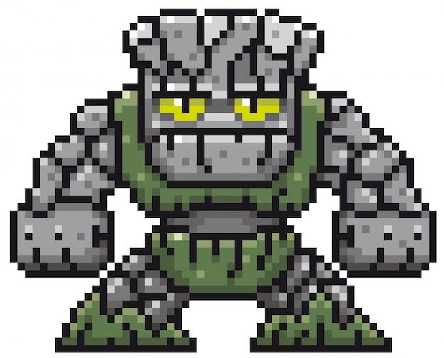 Dessin animé stone monster pixel design
