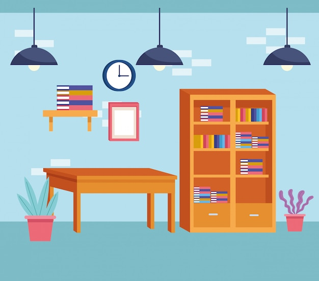 Dessin animé de style moderne de meubles de décoration