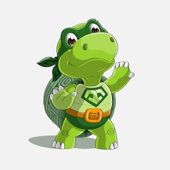 Dessin animé super héros tortue mignonne dessiné à la main