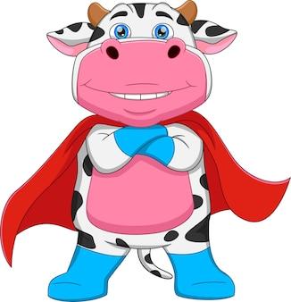 Dessin animé de super-héros de vache