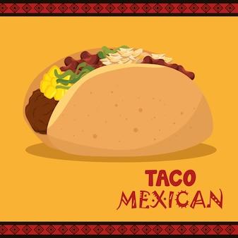 Dessin animé, taco, nourriture, mexique, conception, isolé