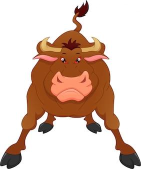 Dessin animé taureau en colère