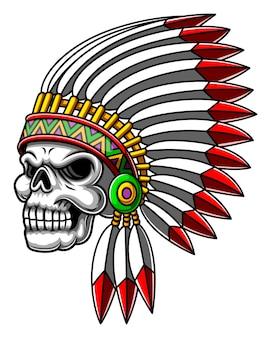 Le dessin animé de la tête de crâne argentée effrayante utilisant le chapeau indien pour l'inspiration de la mascotte