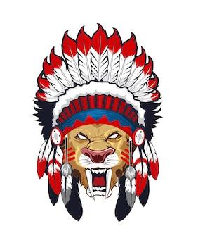 Dessin animé tête indienne tigre