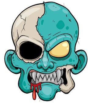 Dessin animé tête de zombie