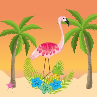 Dessin animé thème de plage tropicale