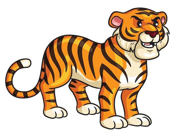 Dessin animé tigre mignon