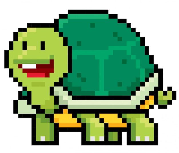 Dessin animé tortue pixel design