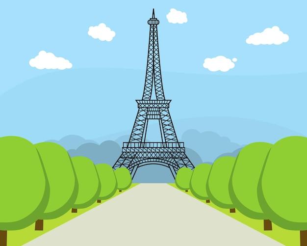 Dessin animé tour eiffel célèbre monument de paris symbole france voyage style plat design. illustration vectorielle