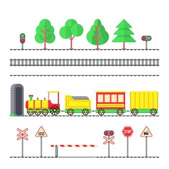 Dessin animé train de voyageurs