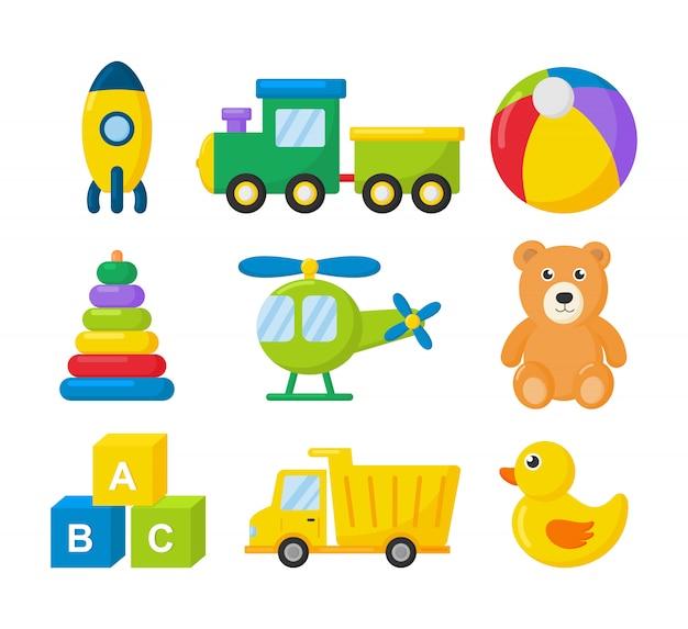 Dessin animé transport jouets icon set. voitures, hélicoptère, fusée, ballon et avion isolé sur blanc.