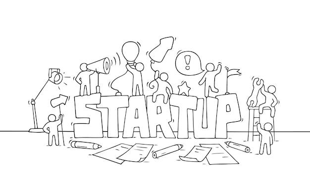 Dessin animé travaillant de petites personnes avec le mot démarrage. illustration vectorielle - travailleurs sur la créativité.