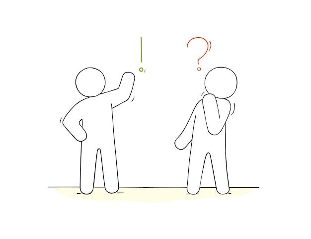 Dessin animé travaillant de petites personnes avec des signes de communication doodle scène miniature sur la communication