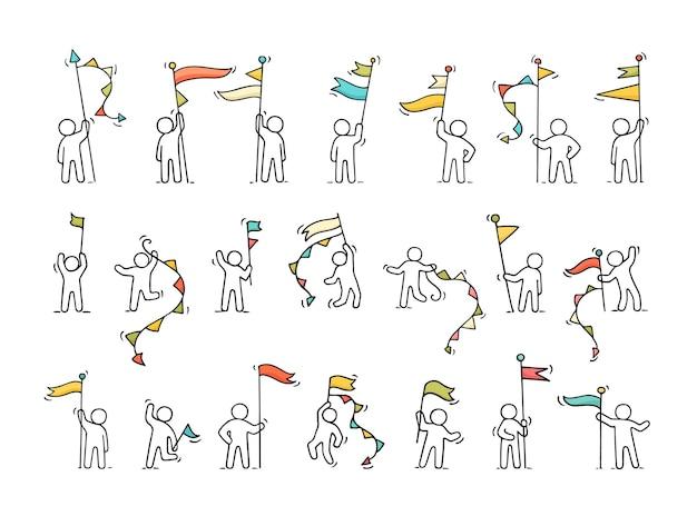 Dessin animé travaillant de petites personnes avec des symboles