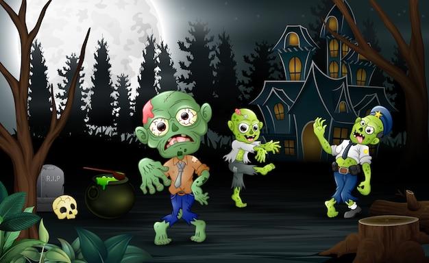 Dessin animé trois célébrations de zombies une fête d'halloween
