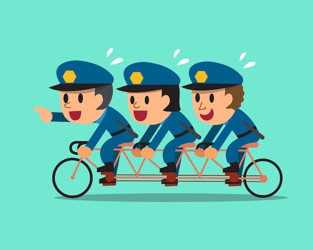 Dessin animé trois policiers montent un vélo tandem