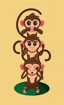 Dessin animé de trois singes sages