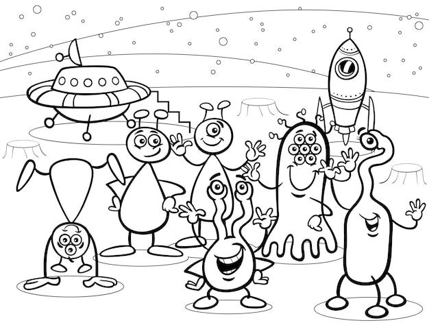 Dessin animé ufo aliens groupe livre de coloriage