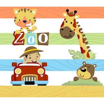 Dessin animé de vacances avec un garçon dans le zoo