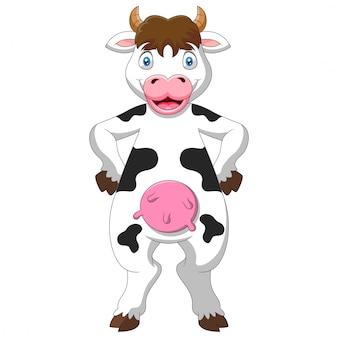 Dessin animé vache heureuse un standing