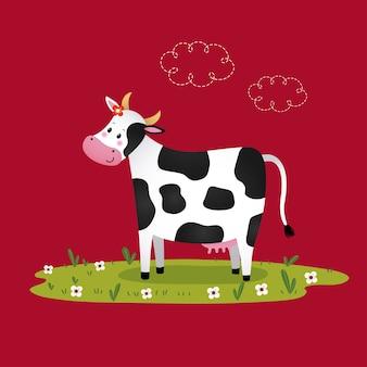 Dessin animé vache noir et blanc dans un champ herbeux.