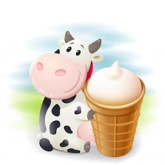 Dessin animé vache potelée avec de la glace.