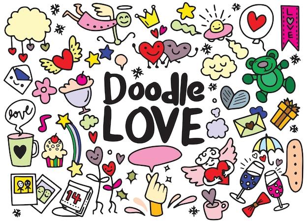 Dessin animé vecteur dessinés à la main doodle love illustration