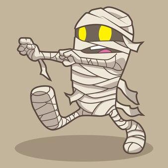 Dessin animé de vecteur halloween momie mignonne
