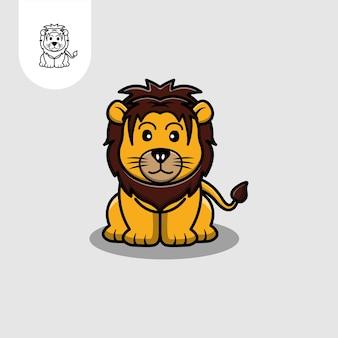 Dessin animé de vecteur de lion mignon
