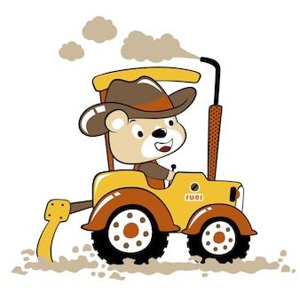Dessin animé de vecteur de tracteur