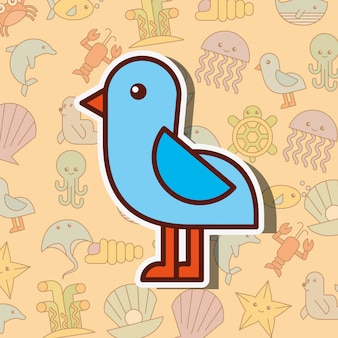 Dessin animé de la vie de mer oiseau mouette