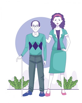 Dessin animé vieil homme et femme debout