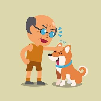 Dessin animé vieil homme avec son chien shiba inu