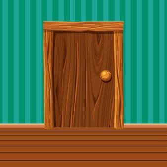 Dessin animé vieille porte en bois