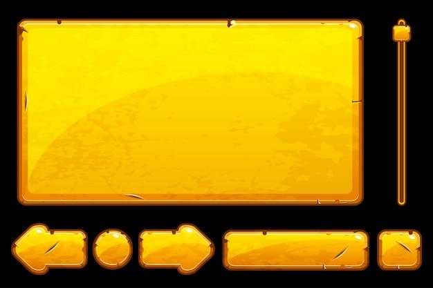 Dessin animé vieux boutons et actifs dorés