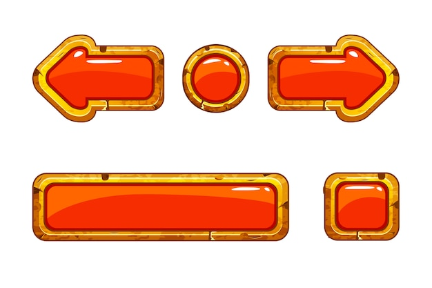 Dessin animé vieux boutons rouges or pour le jeu ou la conception web