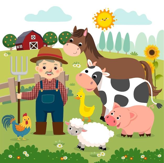 Dessin animé de vieux fermier et animaux de la ferme à la ferme