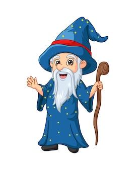 Dessin animé vieux sorcier tenant le bâton