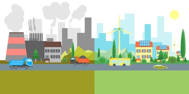 Dessin animé ville paysage geen eco énergie et usines de pollution. concept écologique de conception de style plat. illustration vectorielle